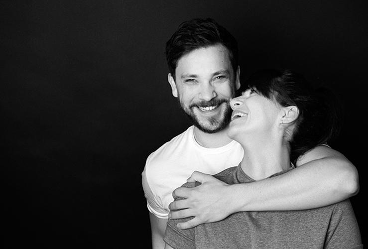 Paarportrait in schwarz-weiß