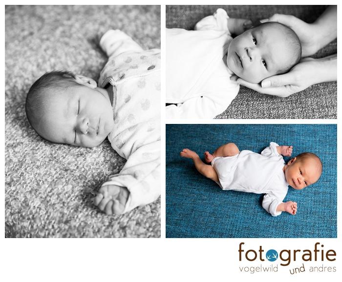 Babyfoto auf blauer Decke