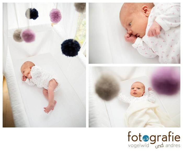 Babyfotos im Babybett